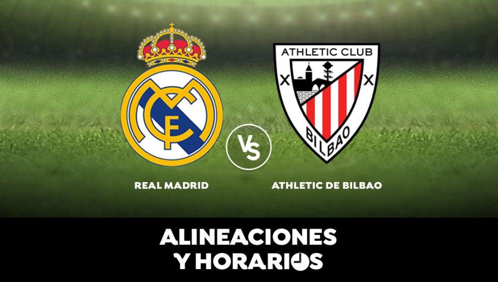 Real Madrid - Athletic de Bilbao: Alineaciones, horario y dónde ver el partido de hoy en directo