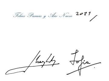 Dedicatoria de la felicitación de Navidad 2020 de los reyes don Juan Carlos y doña Sofía