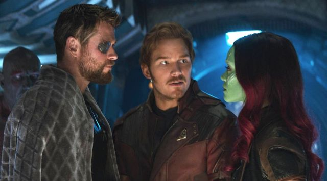 Chris Hemsworth, Chris Pratt y Zoe Saldana en 'Vengadores: Endgame'