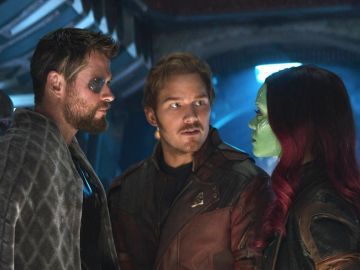 Chris Hemsworth, Chris Pratt y Zoe Saldana en 'Vengadores: Endgame'