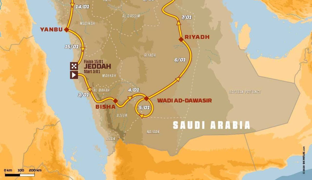 Rally Dakar 2021: Recorrido de la etapa 3 hoy, martes 5 de enero, Wadi Ad-Dawasir - Wadi Ad-Dawasir