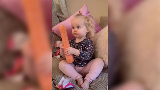 Niña juega con una zanahoria
