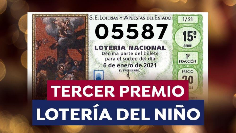 05587, Tercer premio de la Lotería del Niño 2021