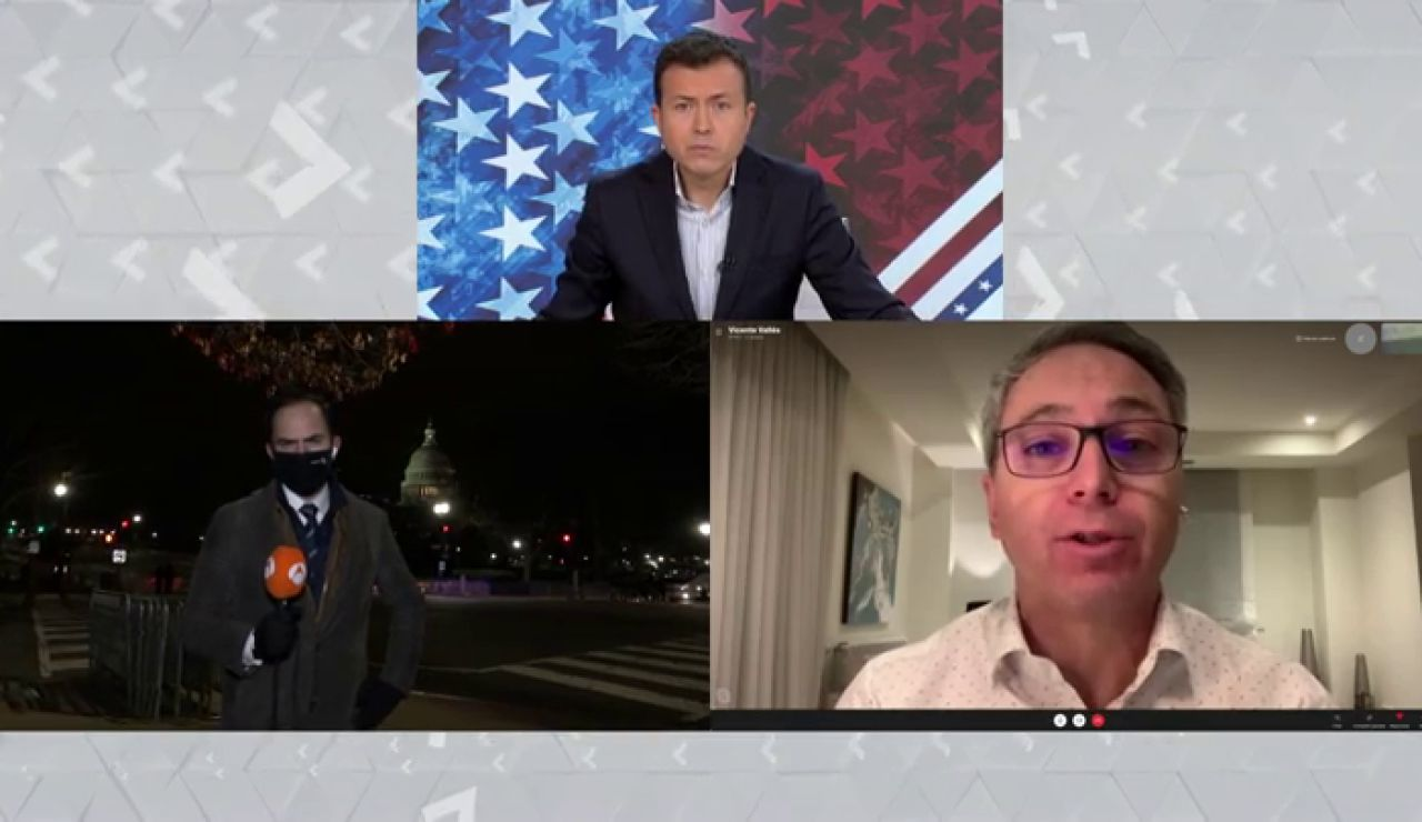 Asalto al Congreso de los Estados Unidos: Simpatizantes de Donald Trump intentan cortar la conexión en directo del corresponsal de Antena 3 Noticias, José Ángel Abad