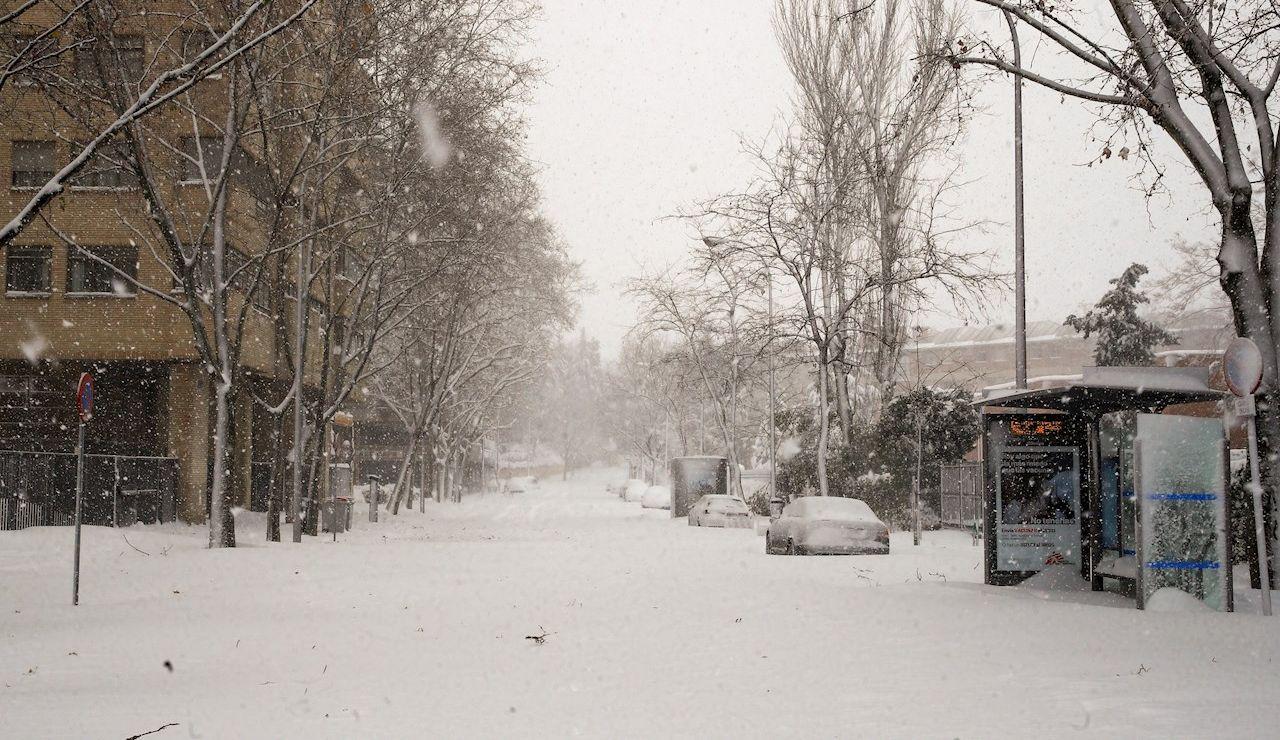 Imagen de la nevada en Madrid