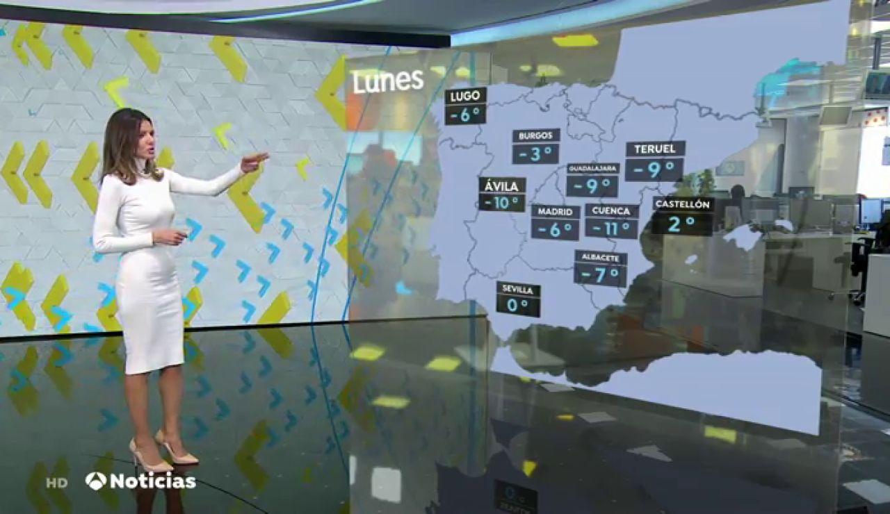 Una ola de frío extremo con mínimas de -10 grados pone en alerta a buena parte de la Península tras el paso de Filomena