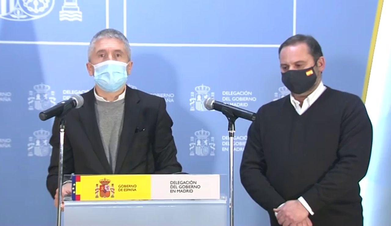 Ábalos y Marlaska aseguran que el peligro por Filomena no ha desaparecido y garantizan el suministro de la vacuna este lunes
