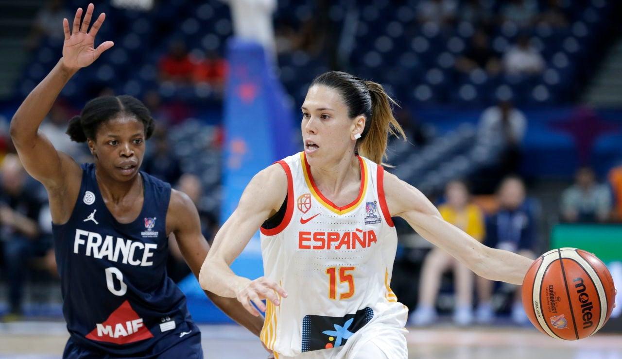 Anna Cruz en un partido con España