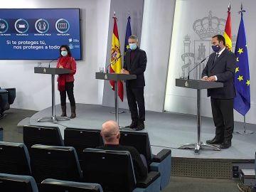 Robles, Marlaska y Ábalos, en rueda de prensa