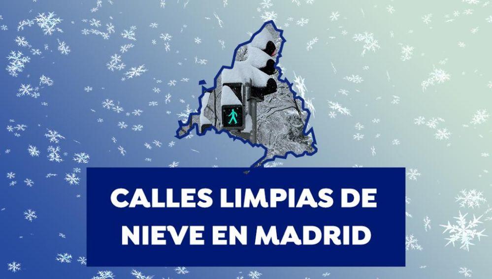Mapa calles limpias de nieve en Madrid