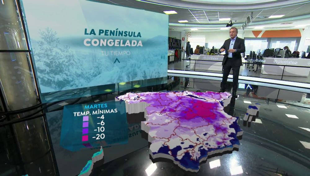 Mapa 3D de España helada
