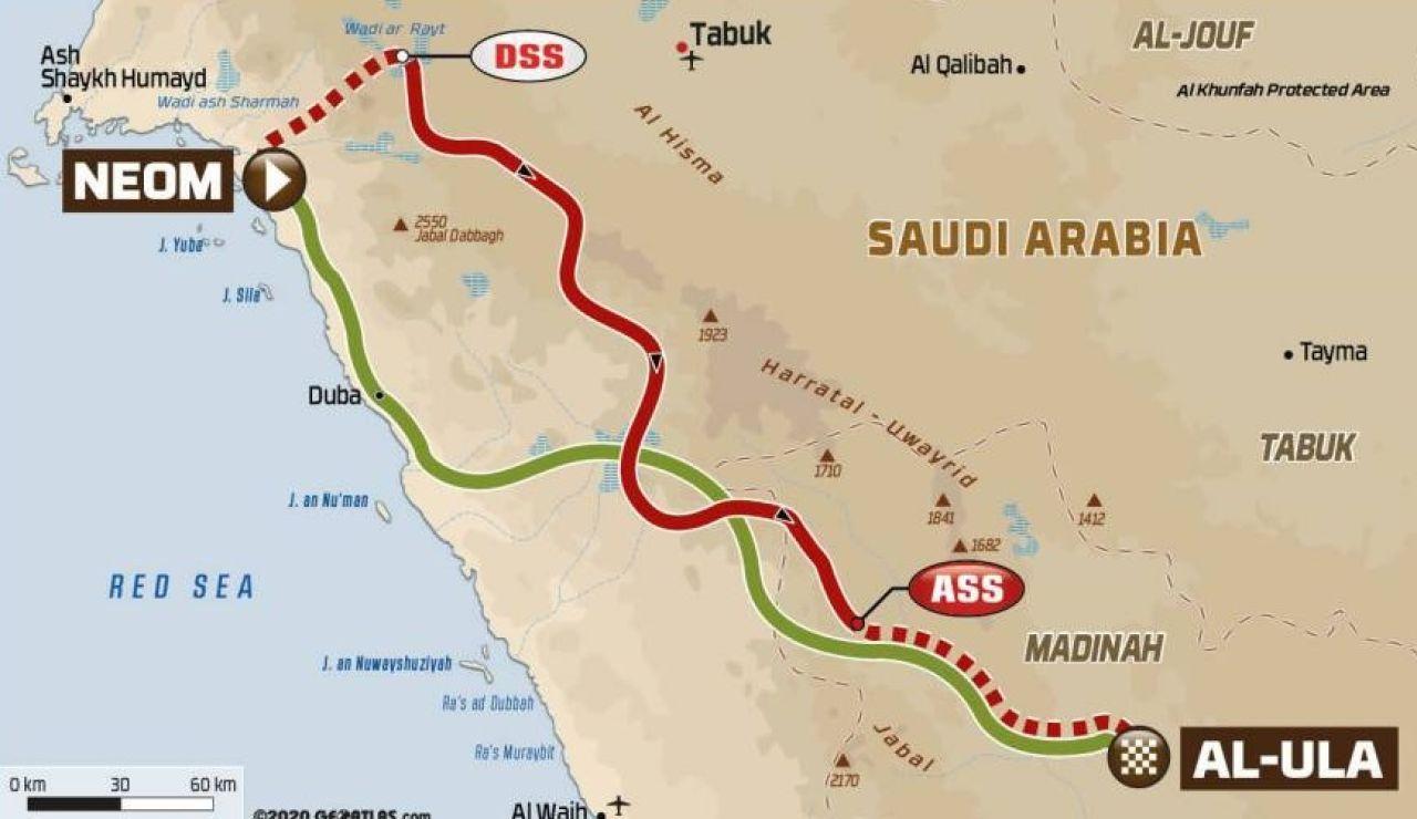 Recorrido de la etapa 10 del Dakar 2021