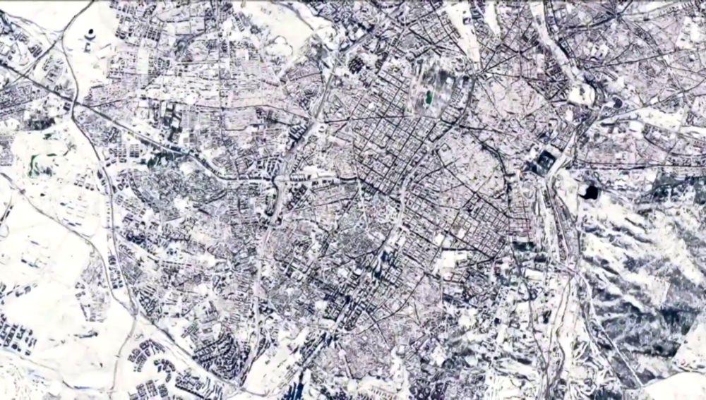 Imagen por satélite de la Comunidad de Madrid helada