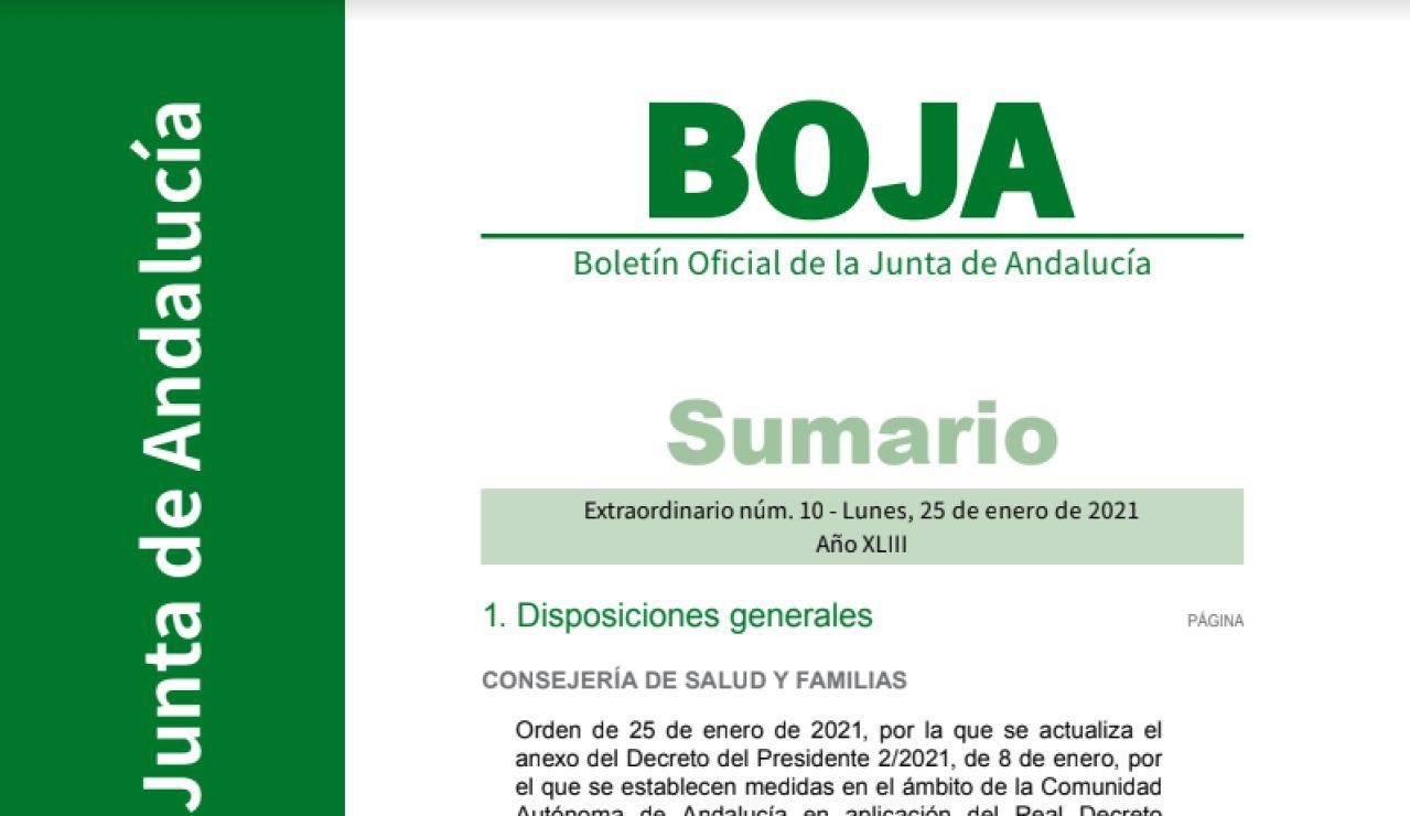 BOJA de hoy 27 de enero con las nuevas restricciones de Andalucía por el coronavirus en PDF