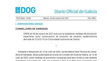 DOG de hoy 27 de enero con las nuevas restricciones de Galicia por el coronavirus en PDF
