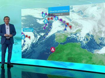 La previsión del tiempo hoy: La llegada de un frente frío por la borrasca 'Justine' cambiará la situación de estabilidad a partir del viernes