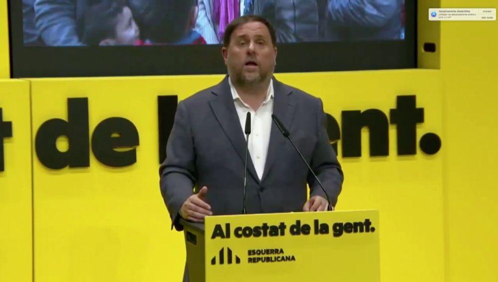 Acto de ERC con Oriol Junqueras y Pere Aragonés durante la campaña de las elecciones catalanas 2021, streaming en directo