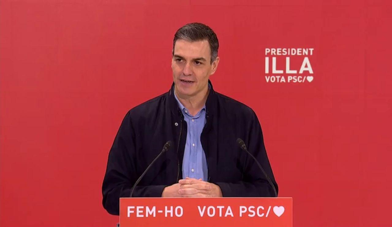 Pedro Sánchez en la campaña electoral de Salvador Illa como candidato en las elecciones catalanas