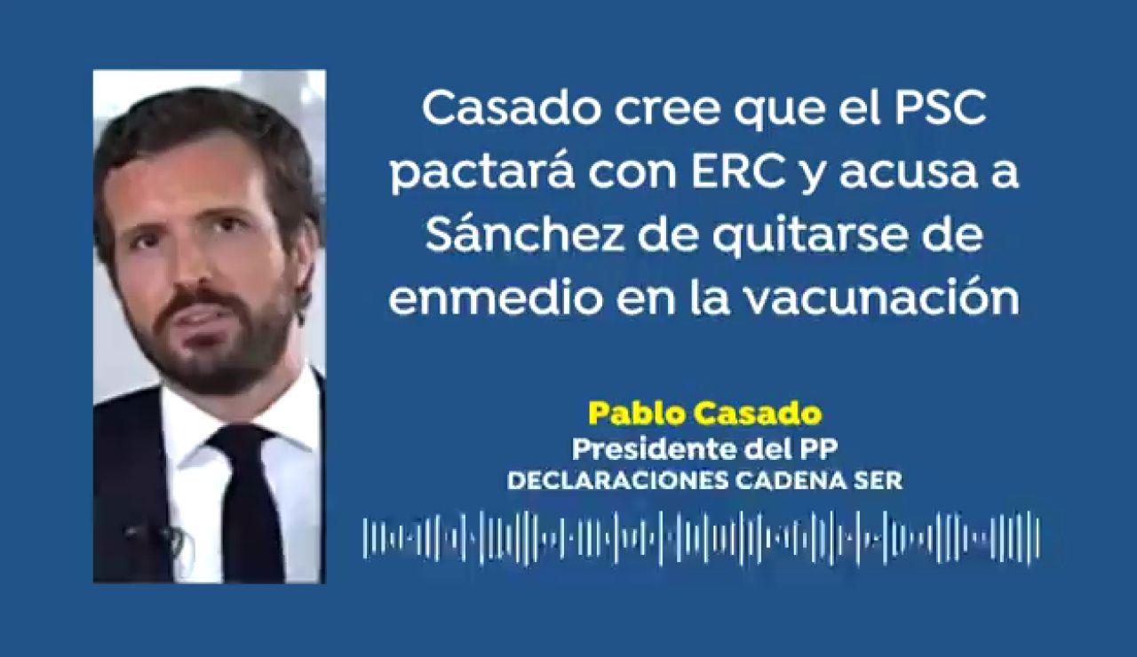 """Casado sobre las elecciones catalanas 2021: """"El PSC acabará pactando con ERC el día de San Valentín, Sánchez quiere un jovencito Frankenstein"""""""
