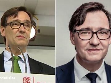 El efecto 'rejuvenecedor' de Salvador Illa en su cartel para las elecciones catalanes
