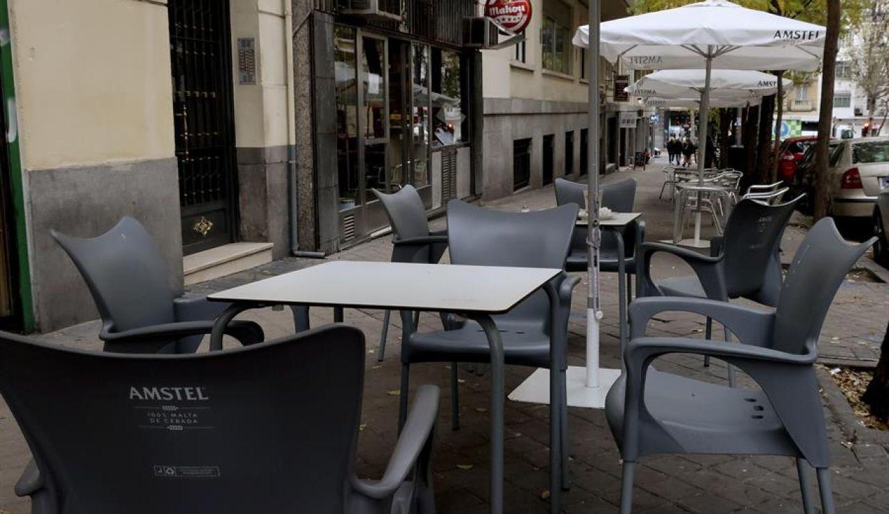Terraza vacía en Madrid