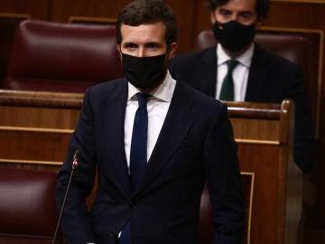 El líder del PP, Pablo Casado, interviene durante la primera sesión de control al Gobierno de 2021 celebrada en el Congreso de los Diputados
