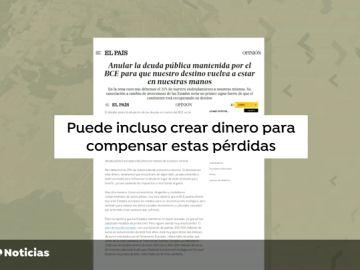 """Guindos asegura que es """"ilegal"""" la propuesta para cancelar la deuda del BCE firmada por Narbona (PSOE) y Alvarez (Podemos)"""