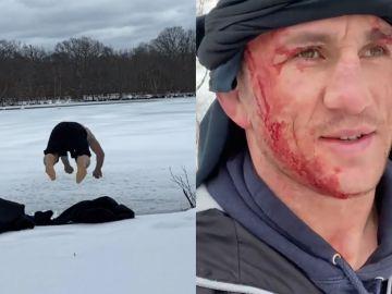 Merab Dvalishvili, luchador de UFC, se parte la cabeza al saltar a un lago helado
