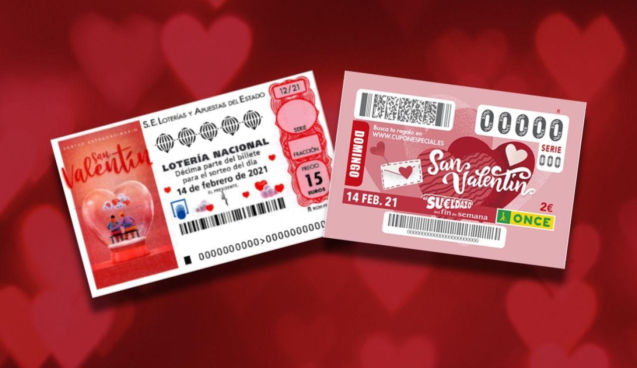 Sorteo Extraordinario de San Valentín de la Lotería Nacional y Sueldazo de San Valentín de la ONCE