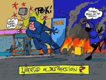 Disturbios, en la viñeta gráfica de Alfredo Boto Hervás