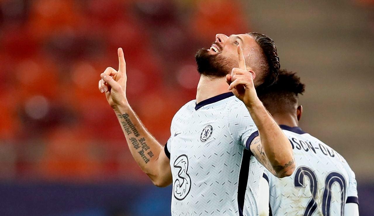 Giroud celebra un gol ante el Atlético de Madrid