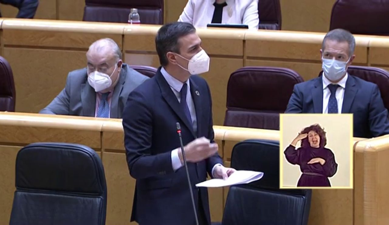 """Pedro Sánchez: """"El objetivo es que a finales de verano el 70% de la población esté vacunada y superemos esta maldita pandemia"""""""