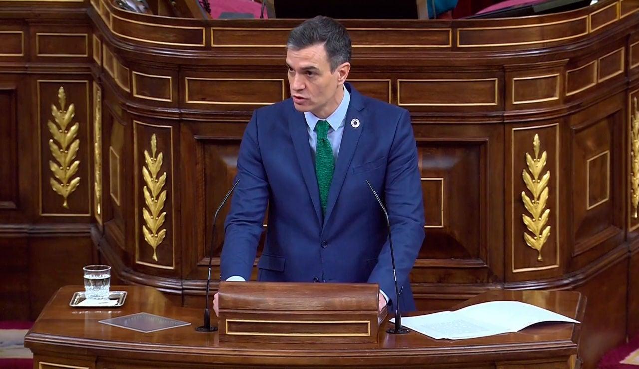 Pedro Sánchez durante su comparecencia en el Congreso