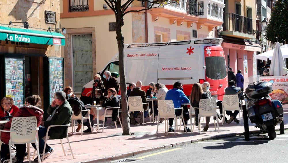 Una terraza en Oviedo.