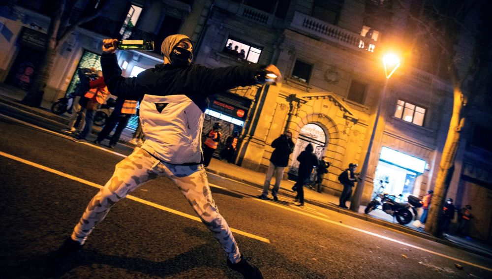 Un manifestante, este martes en Barcelona.