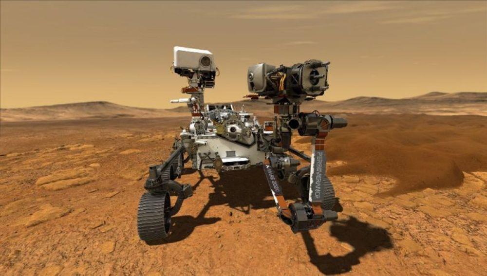 El rover Perseverance da sus primeros pasos por la superficie de Marte