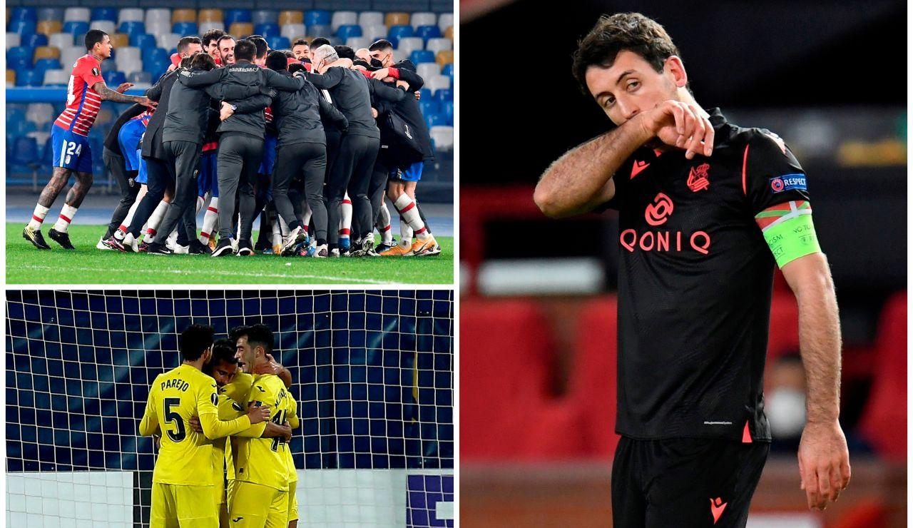 Villarreal y Granada siguen adelante en la Europa League; la Real Sociedad cae eliminada ante el United