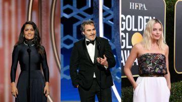 Salma Hayek, Joaquin Phoenix y Margot Robbie en los Globos de Oro