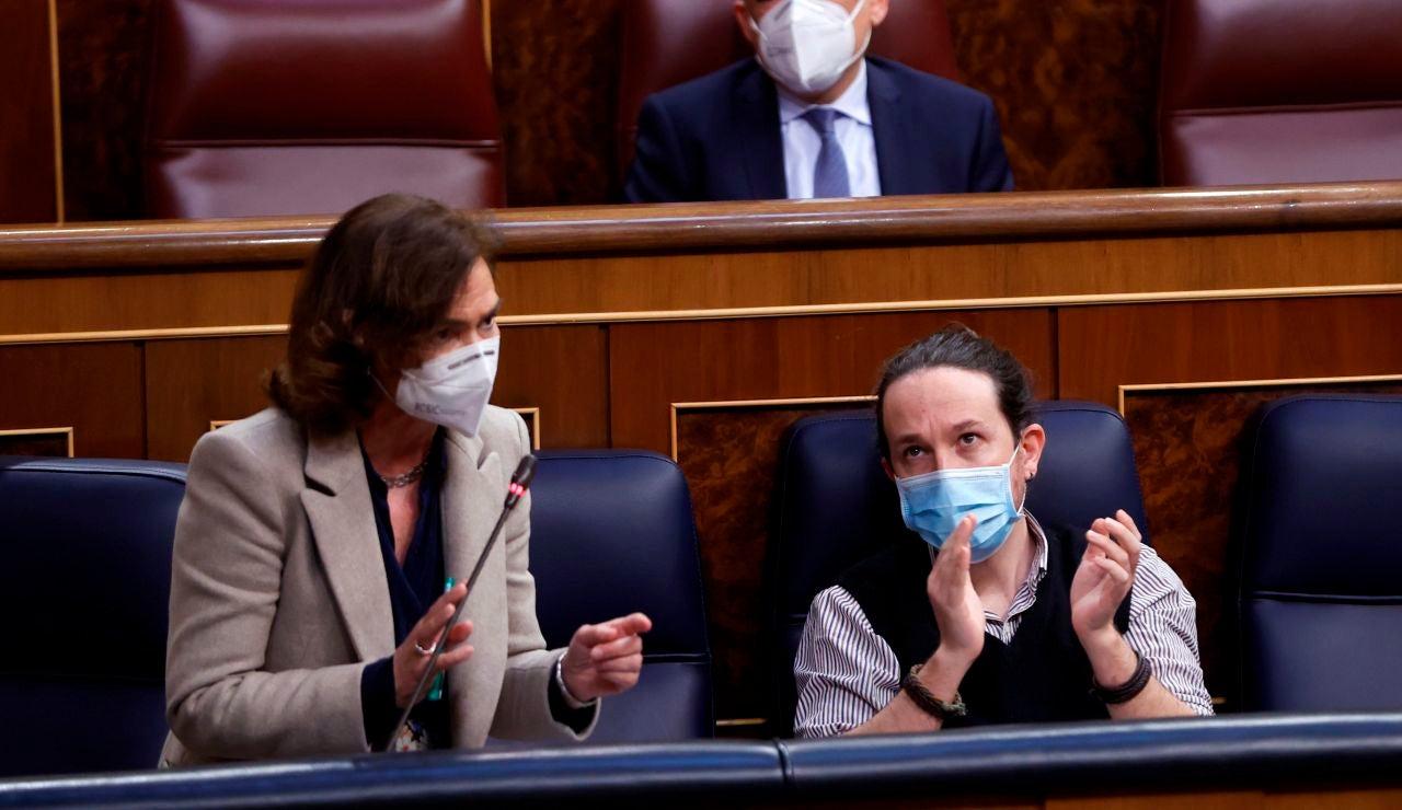 Carmen Calvo interviene durante una sesión en el Congreso de los Diputados.