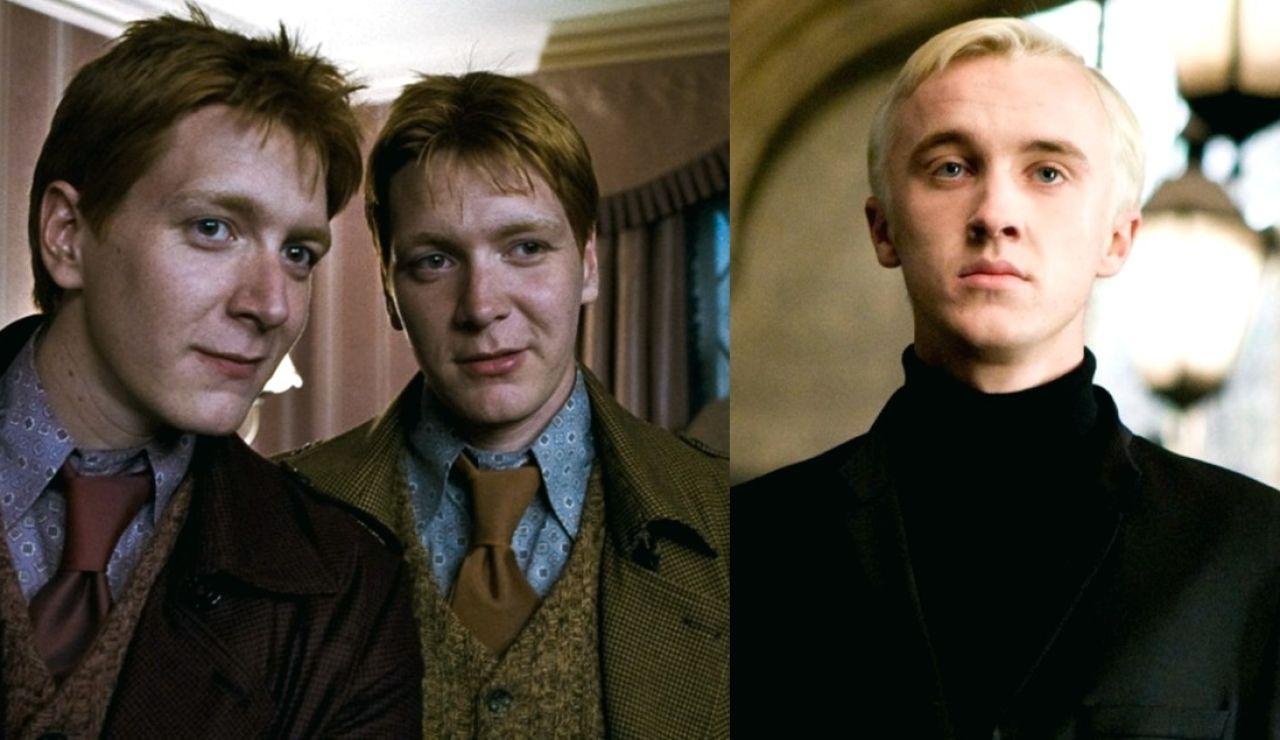 Los gemelos Phelps y Tom Felton en 'Harry Potter