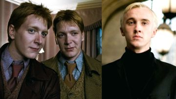 Los gemelos Phelps y Tom Felton en 'Harry Potter