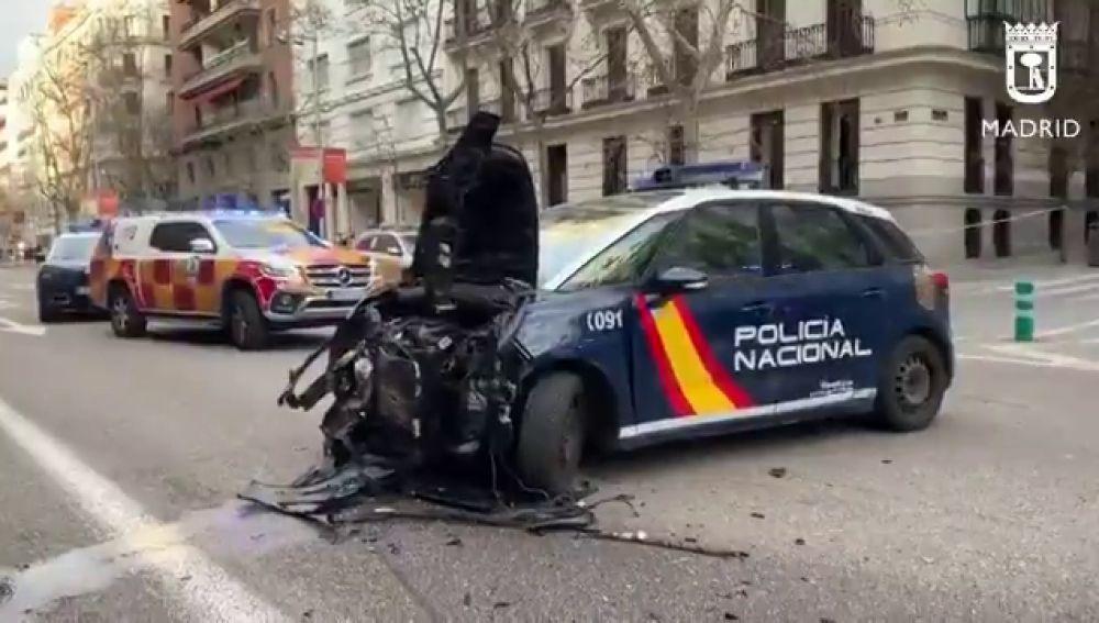 Persecución policial: 7 personas heridas leve al estrellarse un coche en la calle Serrano (Madrid)