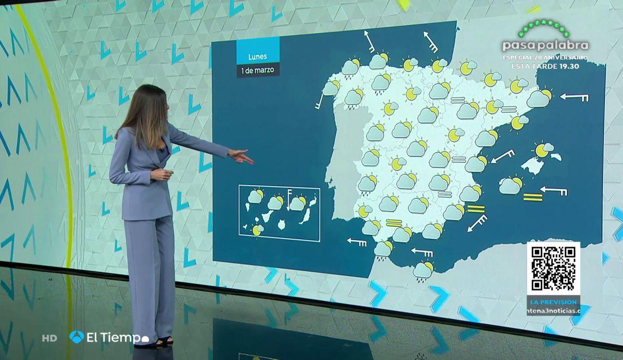 Tu Tiempo (28-02-21) Intervalos de viento fuerte en el litoral gallego, el de Andalucía oriental y el Estrecho