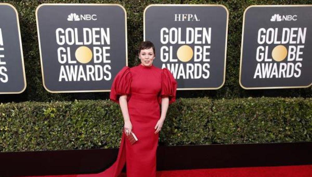 La actriz Olivia Colman en Los Globos de Oro