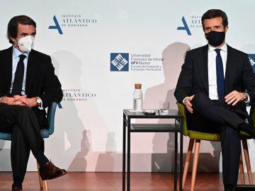 José María Aznar y Pablo Casado, este martes en la Universidad Francisco Vitoria.