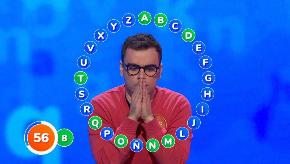 Inusual comienzo de Pablo: solo ocho aciertos y hasta siete 'pasapalabra' seguidas en 'El Rosco'
