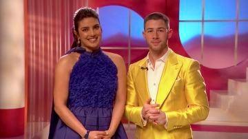Priyanka Chopra y Nick Jonas en la lectura de nominados a los Oscar