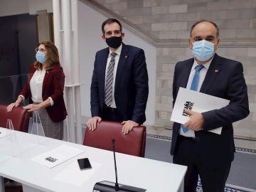 Los tres diputados expulsados de VOX, Mabel Campuzano, Juan José Liarte y Francisco Carrera