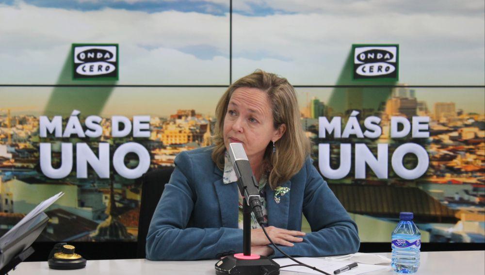 Nadia Calviño durante la entrevista en Más de uno