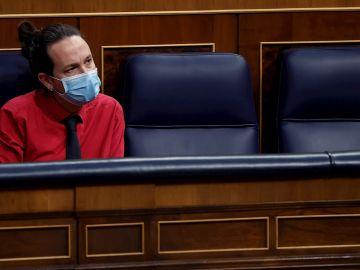 El vicepresidente segundo del Gobierno, Pablo Iglesias durante la sesión de control al Gobierno,